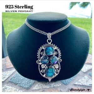 925 Sterling silver galaxy pendant +  steel chain